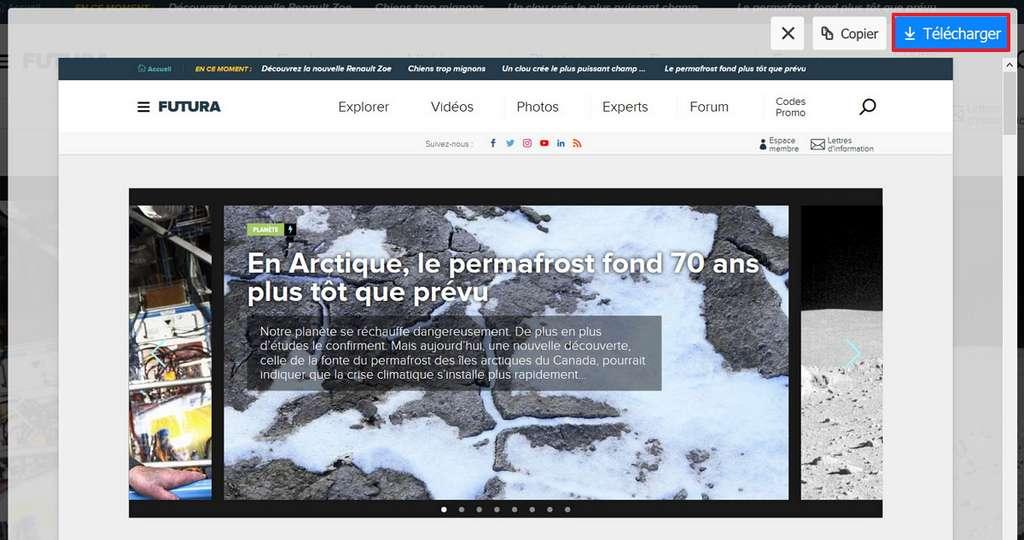 Cliquez sur « Télécharger » pour sauvegarder la capture d'écran. © Mozilla Foundation