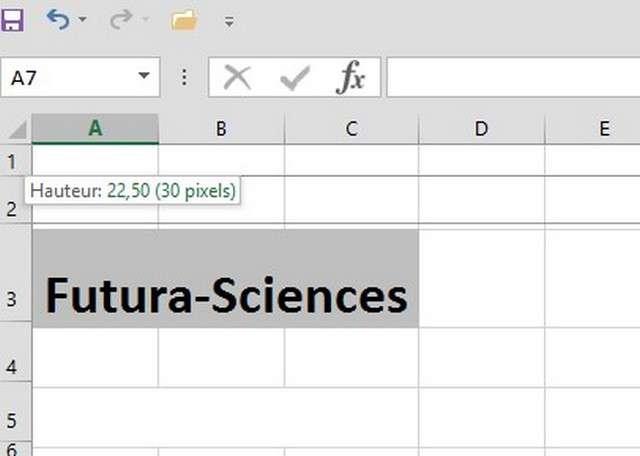 Il est possible de modifier la hauteur d'une ligne ou la largeur d'une colonne. © Futura