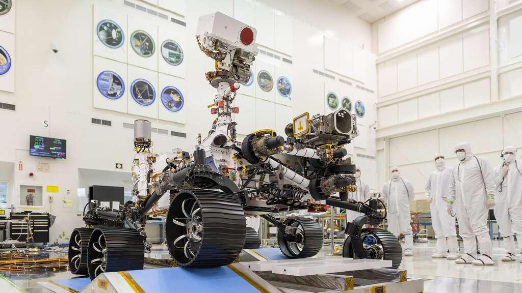 Le rover Perseverance lors d'essai réalisé par la Nasa. © Nasa
