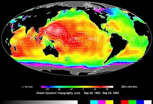 Topographie dynamique des océans © Nasa