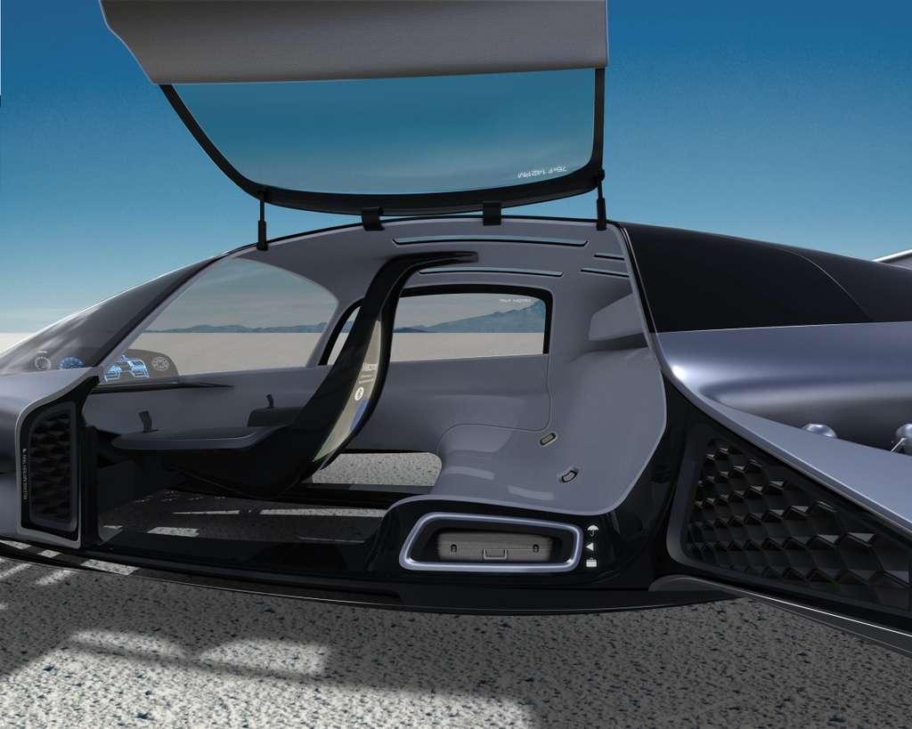 L'habitacle du Leo Coupe avec son plancher transparent. © Urban eVTOL