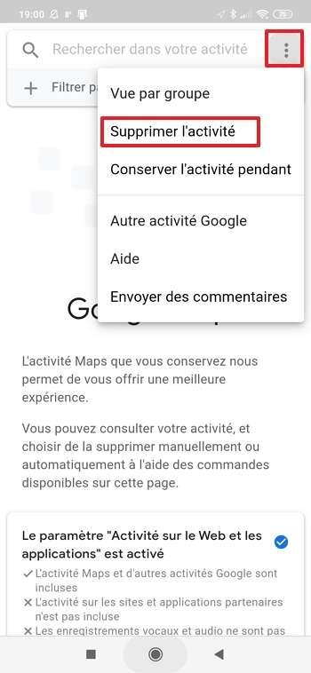 Appuyez sur « Supprimer l'activité ». © Google Inc.