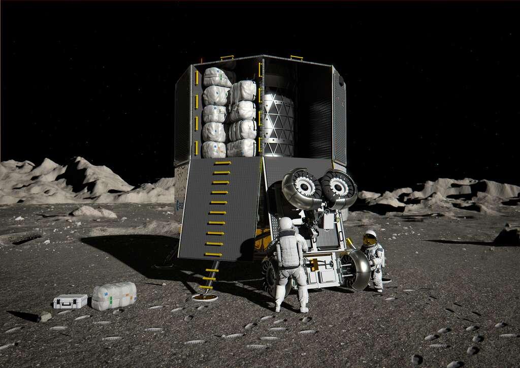 L'atterrisseur lunaire EL3 de l'Agence spatiale européenne. Ce système de transport autonome pourra servir à la logistique de support des missions Artemis avec la capacité de transporter jusqu'à 1,7 tonne de fret vers n'importe quel endroit de la surface lunaire. © ESA, ATG Medialab