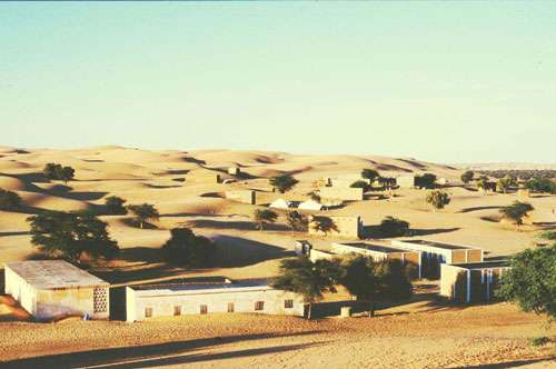 Ensablement par un arrivage barkhanique de Tamchekket, village sur la marge Sud de l'Erg Aouker. Mauritanie décembre 2001.