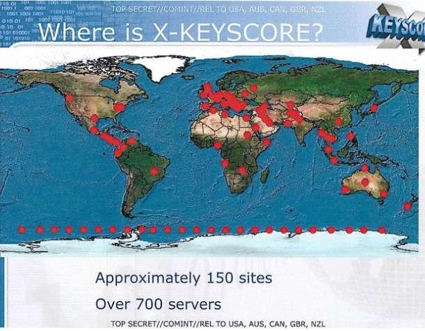 Sur cette carte du monde, les points rouges représentent les 700 serveurs du programme XKeyscore qui sont répartis sur 150 sites. © NSA, The Guardian, DR