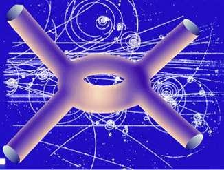 Les particules élémentaires qui suivent des trajectoires sur la photographie d'arrière-plan dans une chambre à bulles sont en réalité décrites par des diagrammes de Feynman avec des cordes fermées (comme le schéma au premier plan) selon la théorie des supercordes. © Robbert Dijkgraaf