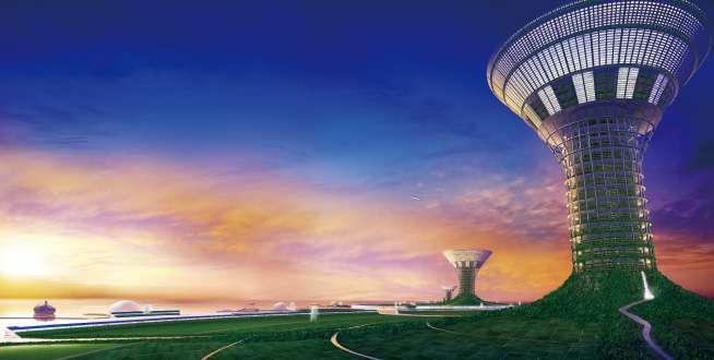 Dans cet autre projet de Shimizu, d'immenses radeaux flottants de 3 km de diamètre portent une immense tour centrale s'évasant en un entonnoir de 1 km de diamètre où se trouvent les lieux de vie et de travail. En bas, un habitat résidentiel, des plages, des forêts et des ports. Entre les deux, la production agricole. © Shimizu