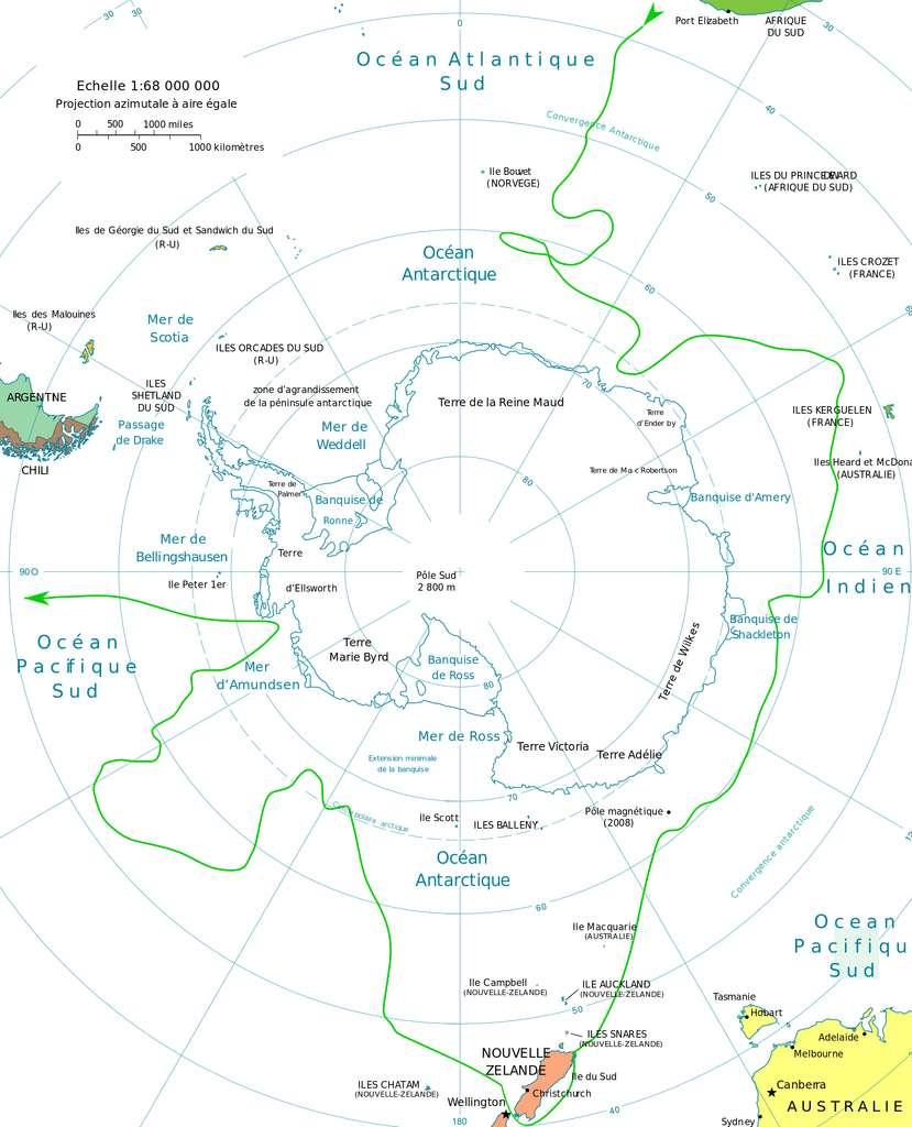 Carte de la deuxième expédition de James Cook, 1772-1775. Données du trajet dans « Le grand défi des pôles » par B. Imbert et C. Lorius chez Gallimard Histoire, réédité en 2006. © Wikimedia Commons, domaine public.