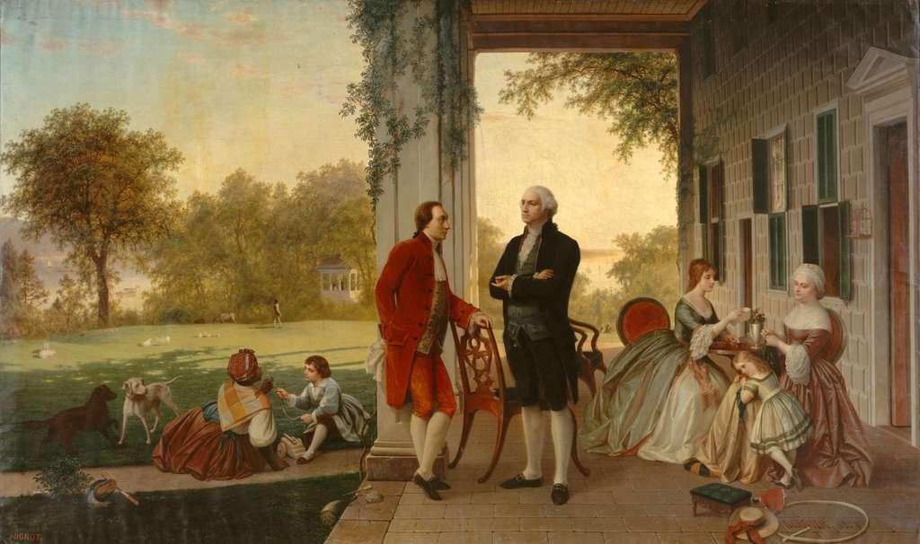 Tableau représentant Washington et La Fayette à Mount Vernon en 1784, peint par Rossiter et Mignot en 1859. © Metropolitan Museum of Art, New York, domaine public