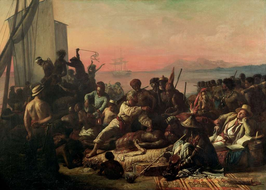 """Tableau """"La traite des esclaves"""" ou """"Esclaves sur la côte ouest de l'Afrique"""" par François Auguste Biard en 1835. Wilberforce House Museum, Hull, Grande Bretagne. © Wikimedia Commons, domaine public."""