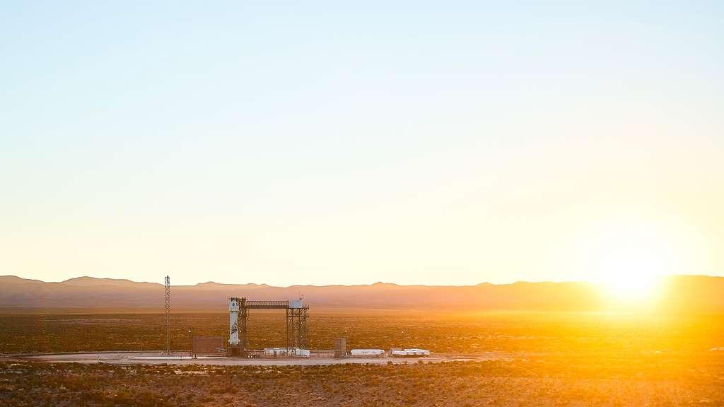 Le New Shepard sur son pas de tir, situé près de Van Horn dans l'ouest du Texas. © Blue Origin