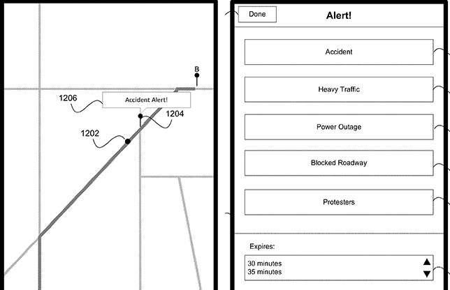 Ce dessin issu du brevet Apple décrit le type d'alerte qu'un automobiliste pourrait partager en temps réel avec les autres conducteurs à proximité utilisant l'application Cartes. © Apple Inc