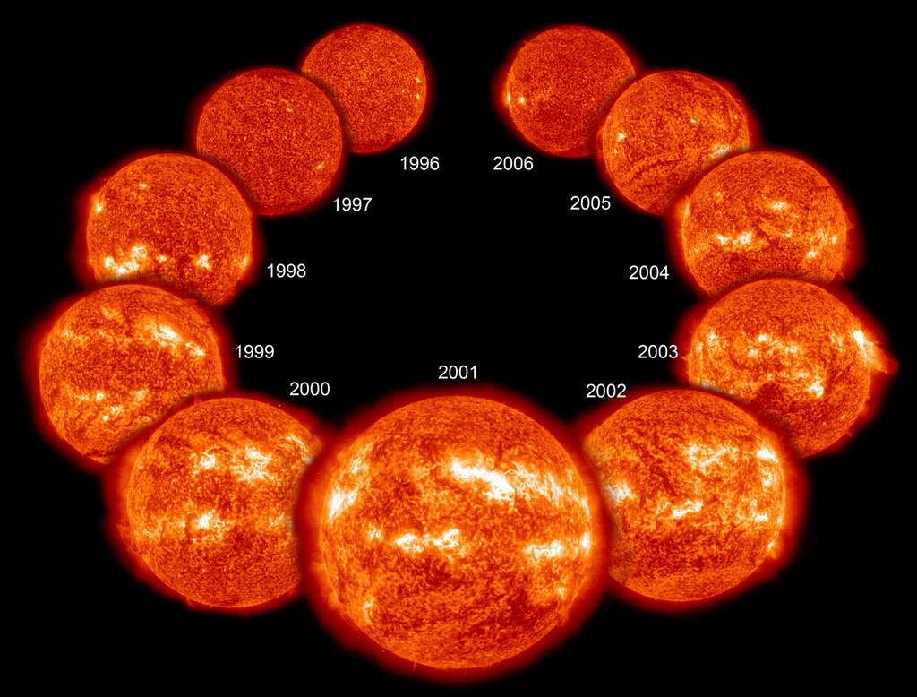 Cette image montre le Soleil durant les onze ans de son cycle, de 1996 à 2006. Au premier plan, l'image montre le Soleil en 2001, au maximum de son activité. Les phénomènes déterminant ce rythme restent très mal expliqués. © Soho/Esa/Nasa