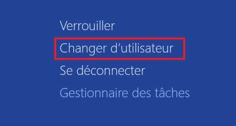 Le menu « Ctrl + Alt + Suppr » sert aussi à changer d'utilisateur. © Microsoft