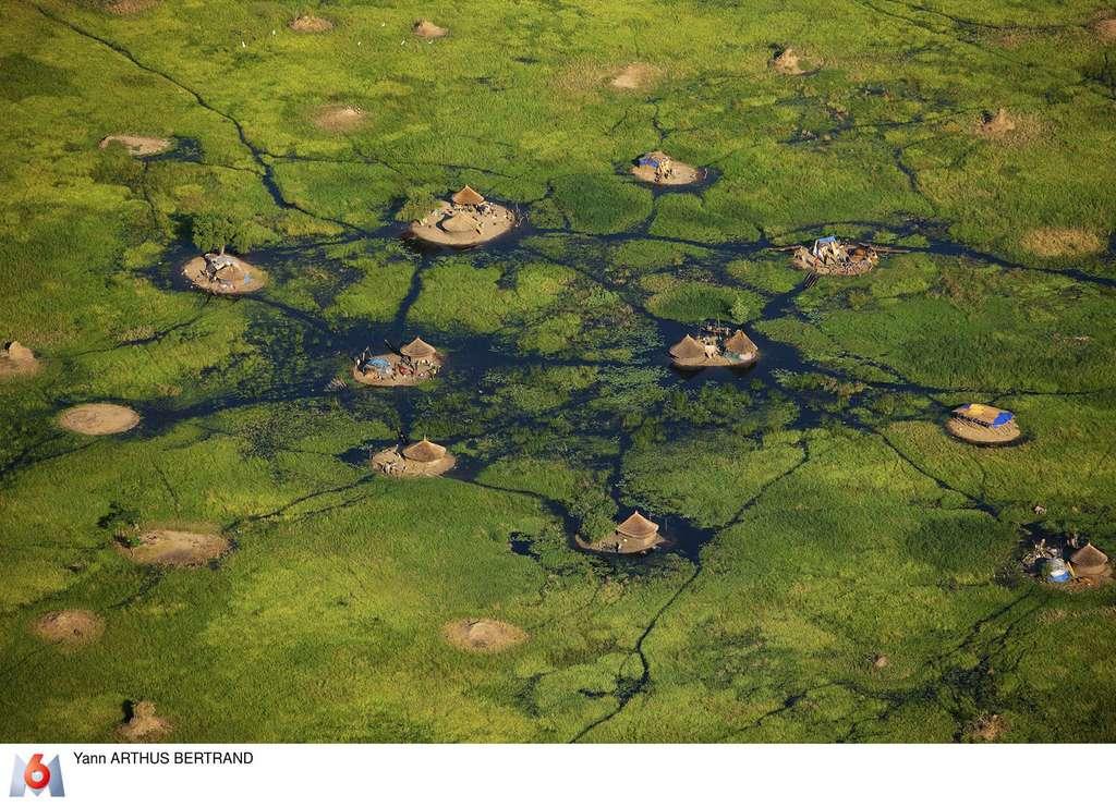 Village dans les marais du Sudd, près de Bor, État de Jonglei, Soudan du Sud. © Yann Arthus-Bertrand, tous droits réservés