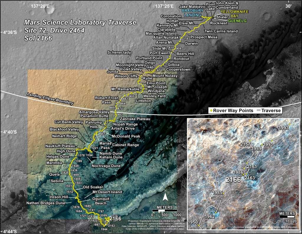 Position de Curiosity lors de son 2.166e jour martien (ou sol), soit le 18 septembre 2018 sur Terre. Le rover a déjà parcouru 19,75 kilomètres depuis son arrivée dans le cratère Gale. © Nasa, JPL-Caltech, Univ. of Arizona