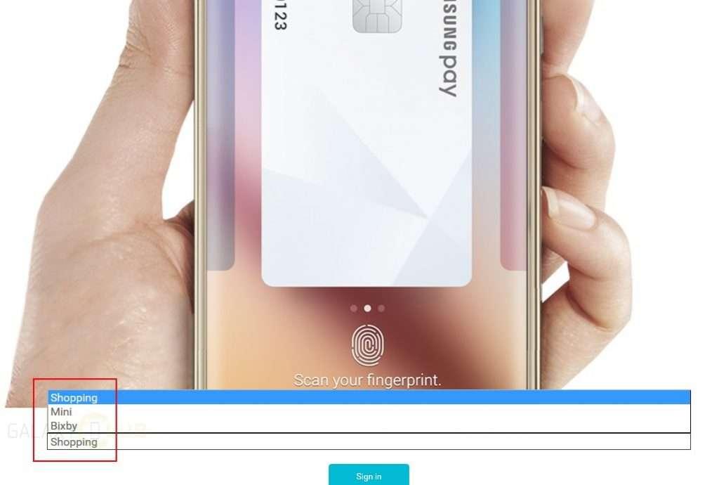 La capture d'écran publiée par le site néerlandais Galaxy Club montre une page sur le portail sud-coréen de Samsung sur laquelle apparaît le nom Bixby. © Galaxy Club