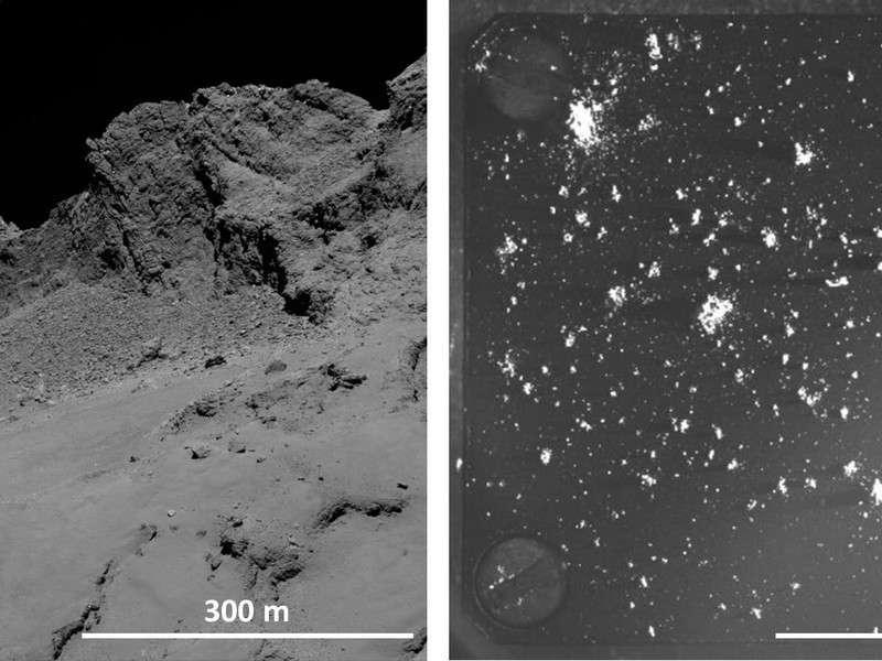 À gauche, détail de la surface de Tchouri vue par Rosetta. À droite, une cible de collecte (1 cm x 1 cm) de l'instrument Cosima. De minuscules fragments du noyau l'ont impactée. Toutes ces poussières sont constituées d'un mélange intime à 50-50 (en masse) de minéraux silicatés et de matériau organique. © ESA, Rosetta MPS for OSIRIS Team MPS, UPD, LAM, IAA, SSO, INTA, UPM, DASP, IDA, MPS for COSIMA Team MPS, CSNSM, UNIBW, TUORLA, IWF, IAS, ESA, BUW, MPE, LPC2E, LCM, FMI, UTU, LISA, UOFC, vH&S