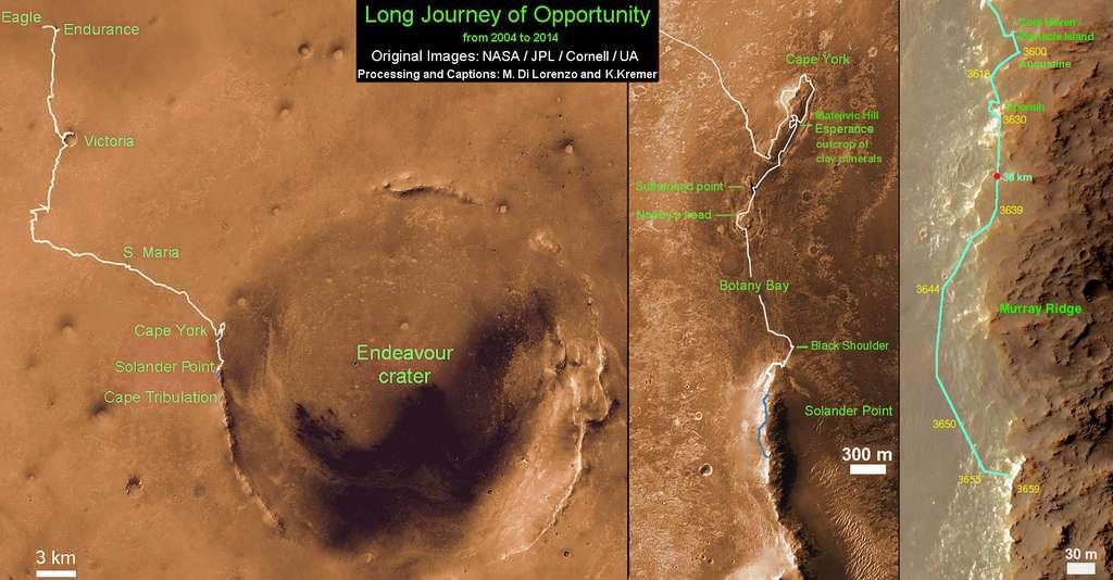 À gauche, vue d'ensemble des 10 années de périple d'Opportunity et ses 39 km parcourus. Depuis août 2011, le rover explore et escalade les remparts d'éjectas du cratère Endeavour (image centrale) pour se diriger vers le sud, sur la crête de Murray. C'est de là-haut que fut capturé le panorama. © Nasa, JPL, Cornell, Asu, Marco Di Lorenzo, Ken Kremer