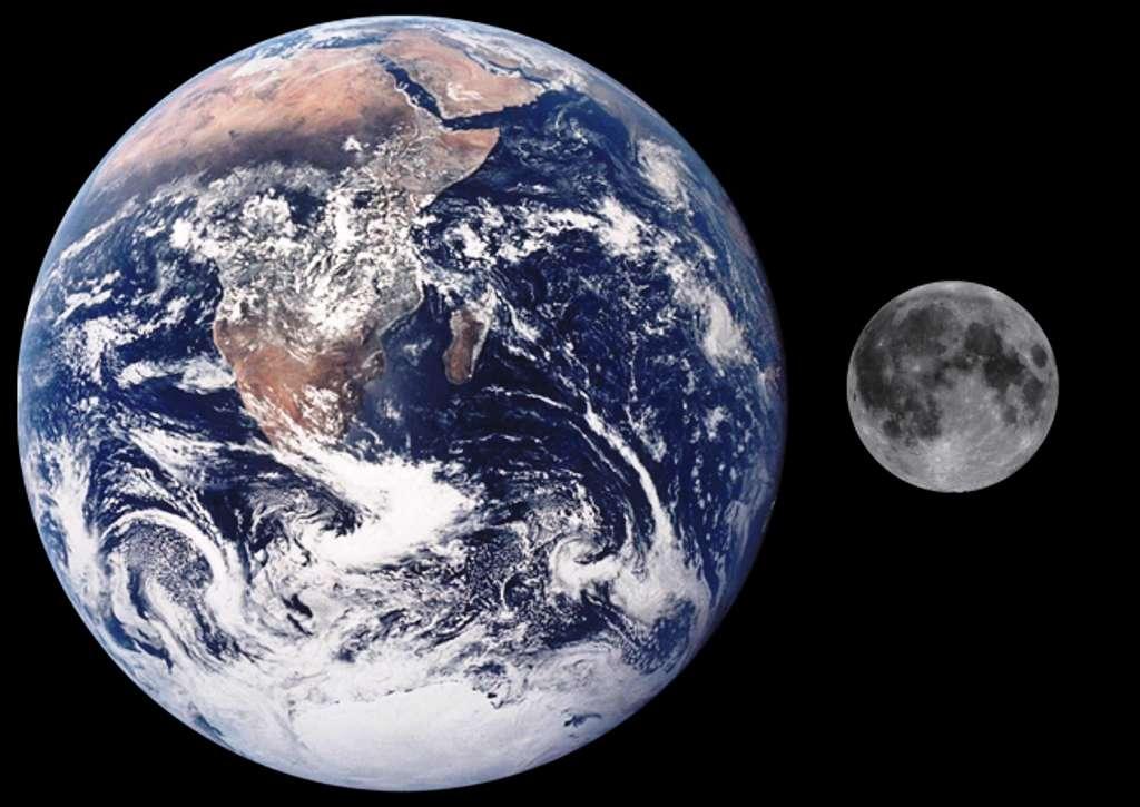 Une comparaison de la taille de la Lune et de la Terre. © Nasa-Wikipédia