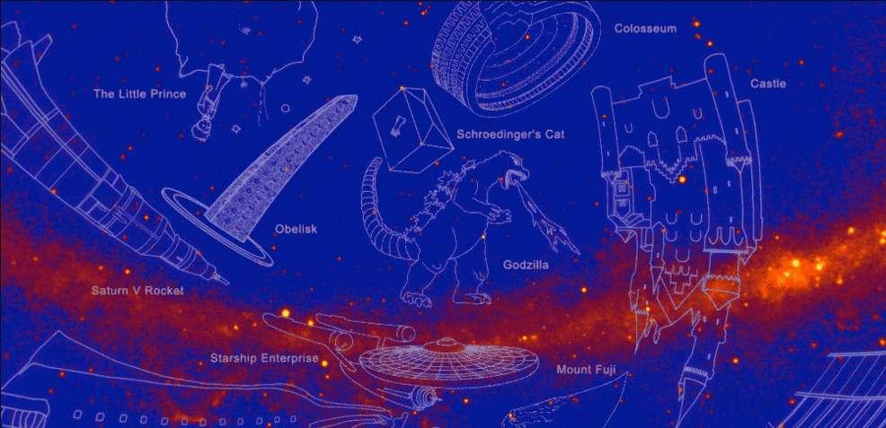 Le chat de Schrödinger, le Petit Prince, la fusée Saturne V utilisée pour aller sur la Lune lors des missions Apollo, figurent parmi les 21 constellations en rayons gamma. © Nasa