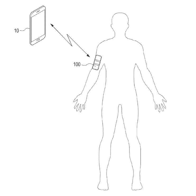 Le dispositif (#100) se porte sur le corps et peut communiquer avec un smartphone (#10). © Samsung