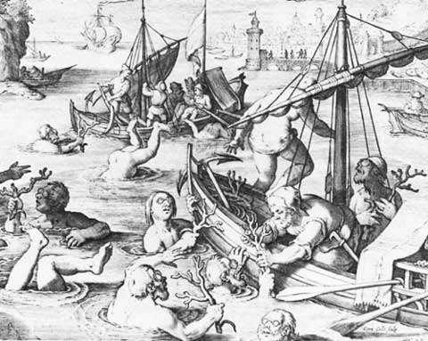 Figure 2 : récolte du corail en plongée libre. Estampe du XVIe siècle avec la première représentation de plongeurs portant des lunettes pour voir sous l'eau. © Reproduction et utilisation interdites