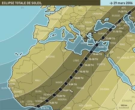 Carte du passage de l'éclipse de soleil du 29 mars 2006