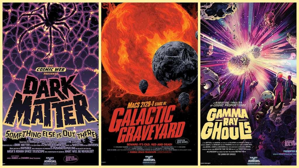 Trois nouvelles affiches dans la galerie Galaxy of Horrors à télécharger gratuitement. © Nasa, JPL-Caltech