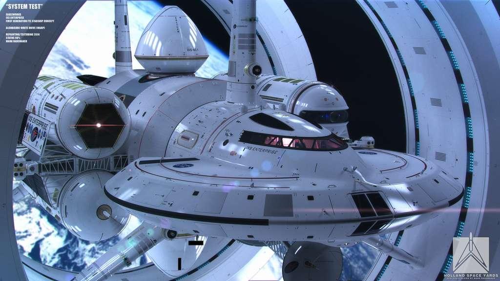 Illustration extraite de l'étude réalisée par l'artiste Mark Rademaker pour un vaisseau spatial interstellaire qui voyagerait en déformant l'espace-temps. © Mark Rademaker, Flickr