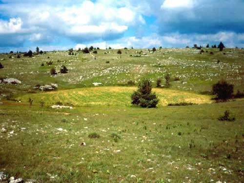 Le calcaire dissous provoque parfois l'affaissement du sous-sol et forme des dolines. © www.geoscience.be, DR