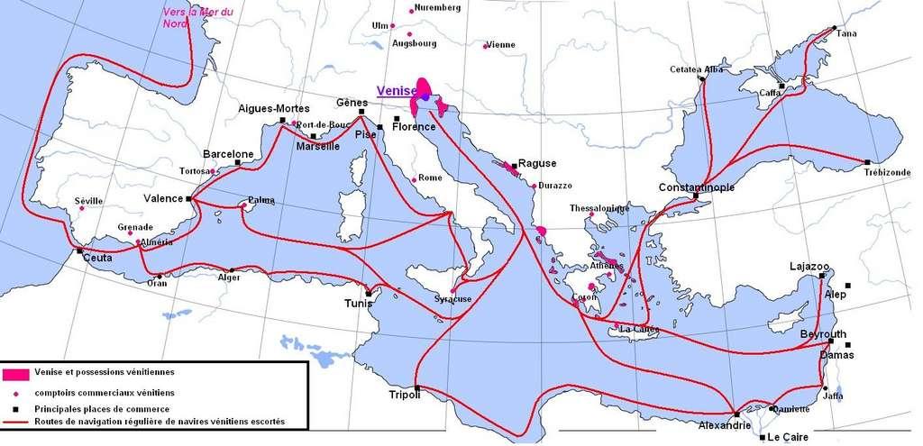 Carte des relations commerciales de Venise au Moyen Âge. Auteur Aliesin, 2005. © Wikimedia Commons, domaine public