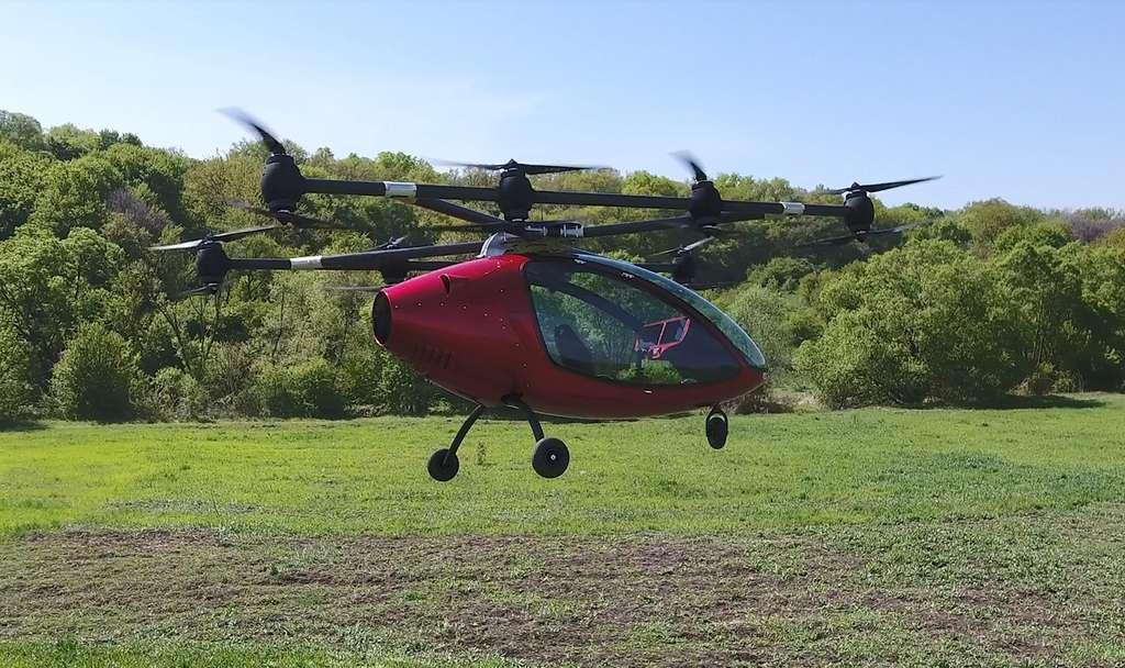Le Passenger Drone durant un vol d'essai. © Passenger Drone