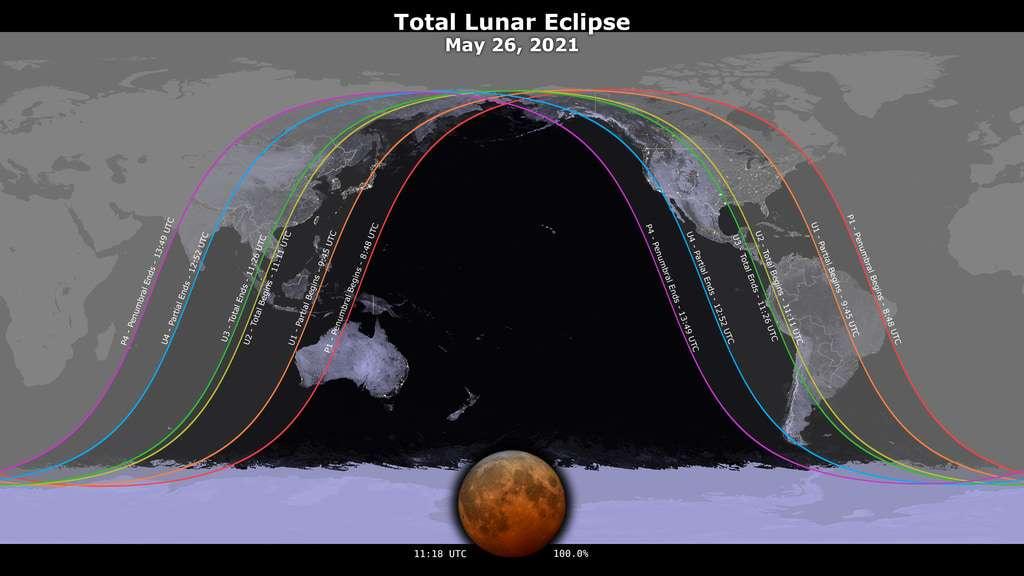 Cette carte montre les endroits du globe depuis lesquels l'éclipse totale de Lune du 26 mai 2021 sera visible. © Nasa Scientific Visualization Studio
