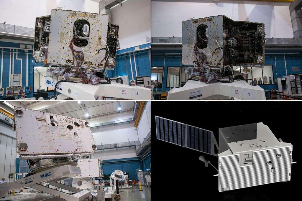 L'orbiteur de Mercure (MPO pour Mercury Planet Orbiter) qui porte les instruments européens d'observation vu dans l'usine de Thales à Cannes (juillet 2014). © Rémy Decourt