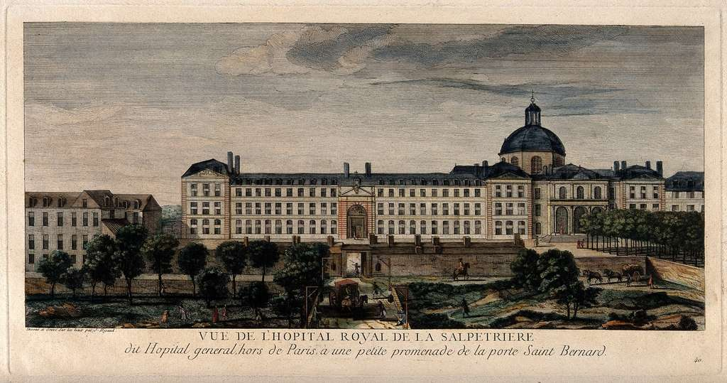 Hôpital royal de la Salpêtrière, dit Hôpital général, hors de Paris, Porte Saint-Bernard, par Jacques Rigaud, XVIIIe siècle. © Wellcome Collection, Wikimedia Commons, domaine public