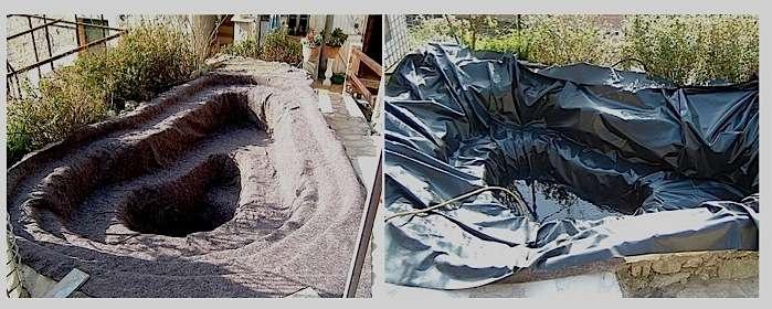 Particularité de la construction de bassin sur bâche, un feutre géotextile doit être interposé entre le sol et la membrane d'étanchéité pour la protéger des pierres, des racines ou des rongeurs. © amateurs-de-bassins.com