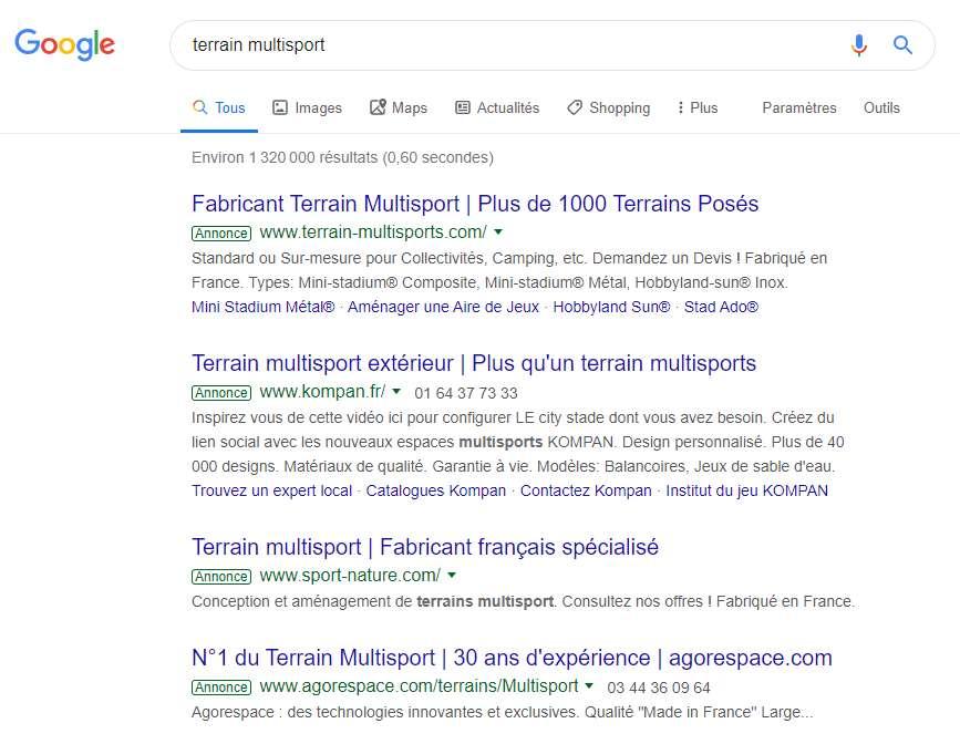 Les annonces Google se différencient du reste des résultats de recherche par une pastille « Annonce », à droite de celles-ci.