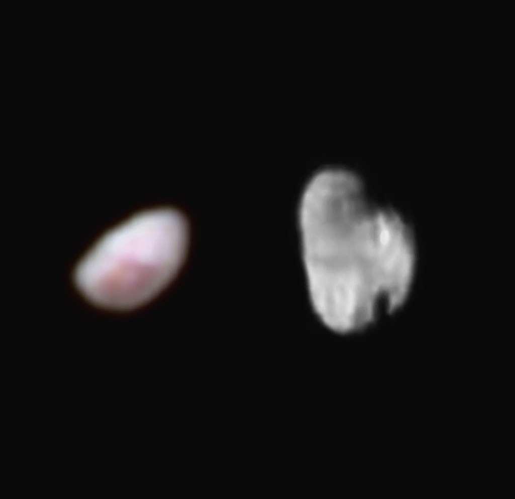 À gauche, Nix (48 x 32 km) et à droite Hydre (43 x 32 km) photographiées respectivement avec les instruments Ralph et Lorri le 14 juillet 2015. © Nasa, JHUAPL, SwRI