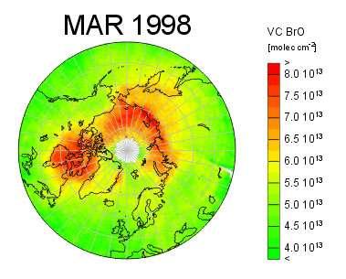Figure 13 : Photo satellite montrant l'explosion des oxydes de brome responsable de la destruction de l'ozone au niveau du sol dans l'arctique : l'explosion de brome © A. Richter