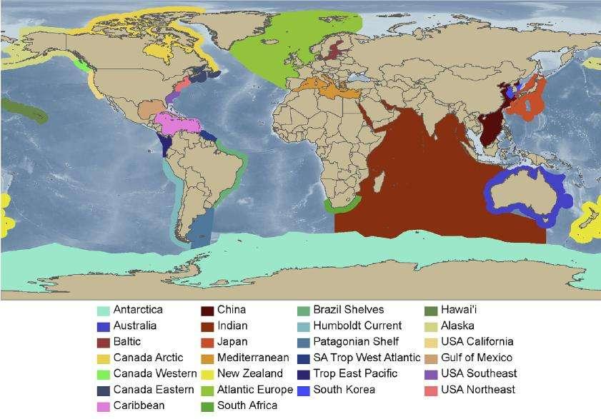 Les 25 régions du monde explorées au cours des dix dernières années par les scientifiques du projet Census of Marine Life. © Plos One