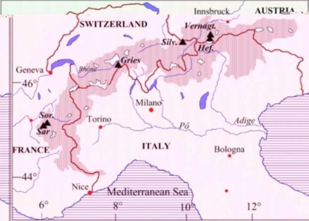 Carte des Alpes indiquant les six glaciers sélectionnés dans l'étude : Vernagtferner (Vernagt) et Hintereisferner (Hef.) en Autriche, Silvretta (Silv.) et Gries en Suisse, Saint Sorlin (Sor.) et Sarennes (Sar.) en France. © CNRS