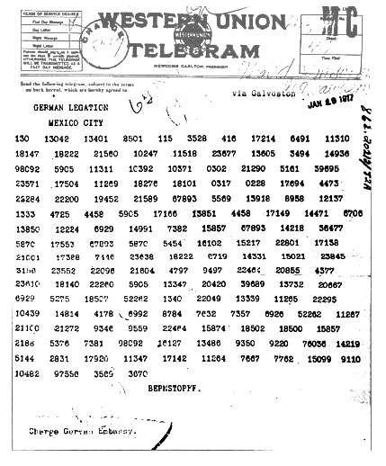 Le télégramme Zimmermann tel qu'il fut envoyé au Mexique par l'ambassadeur allemand à Washington. © Domaine public