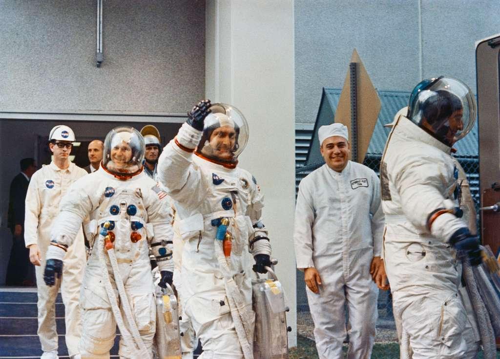 Alan Bean, Richard Gordon Jr. et Charles Conrad Jr., les trois astronautes de la mission Apollo 12, deuxième mission sur la Lune, en 1969. © Nasa