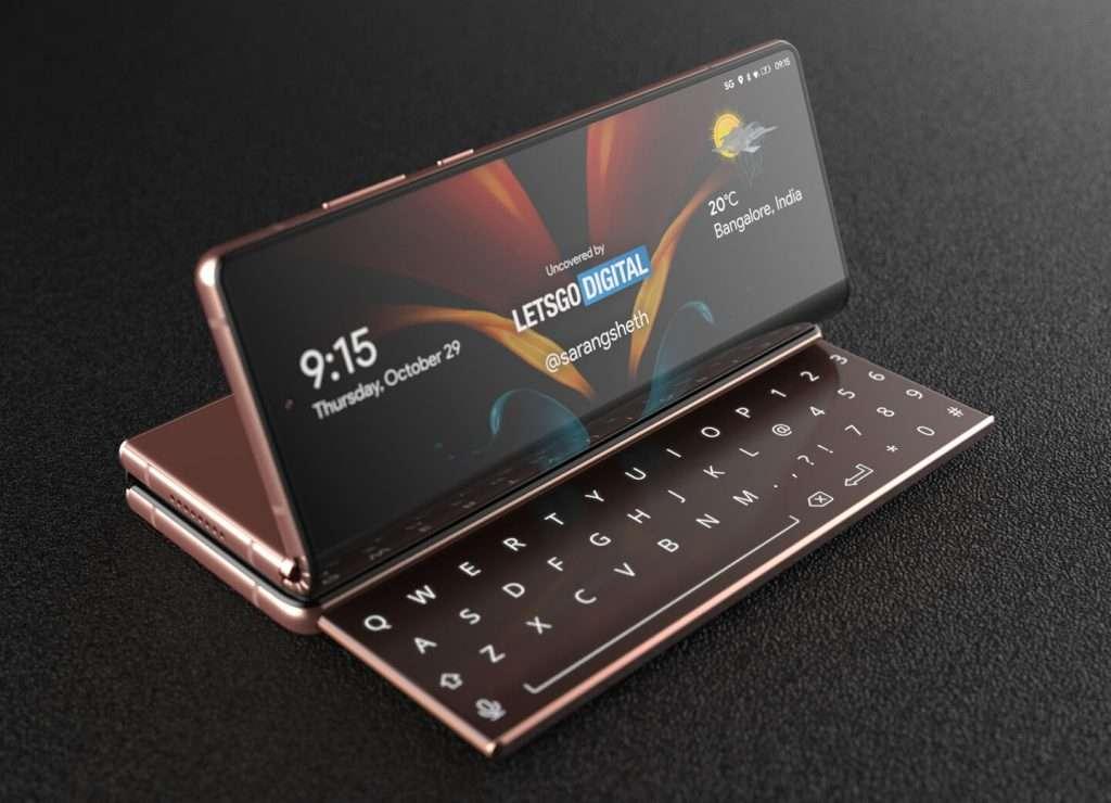 Et si on cachait un clavier dans l'un des volets de ce smartphone en trois parties. © Letsgodigital
