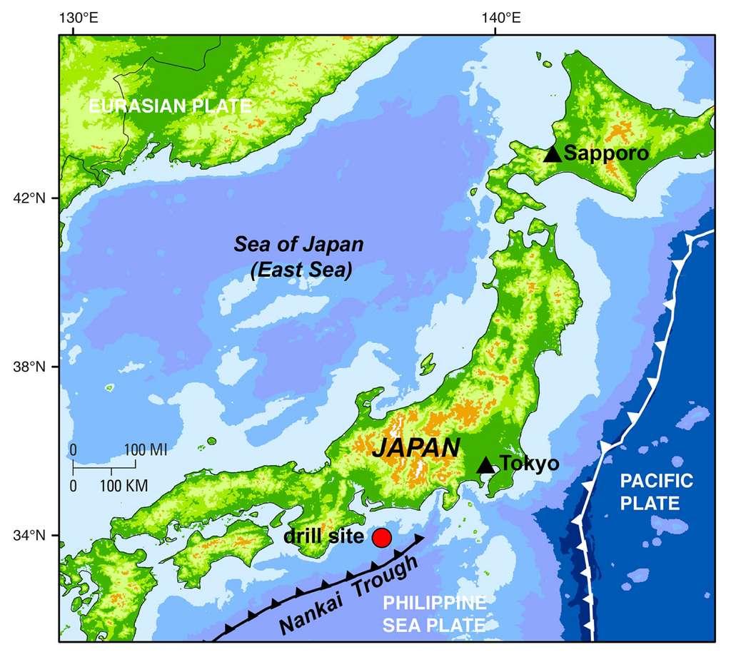 La fosse de Nankai est susceptible d'être le théâtre des séismes très violents. © J.Pinkston, L.Stern, Usgs