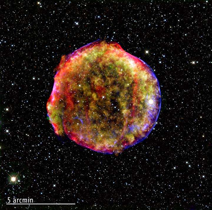 La supernova de Tycho dans toute sa splendeur. Crédit : Rayons X : Nasa/CXC/SAO, infrarouge : Nasa/JPL-Caltech; Optique : MPIA, Calar Alto, O.Krause et al.