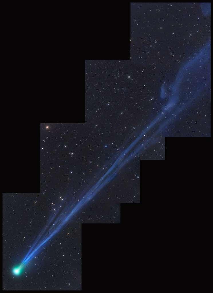Sur cette superbe photo de la comète Swan prise dans le ciel de Namibie, on peut les effets perturbateurs du vent solaire sur la chevelure de l'astre glacé. © Gerald Rhemann