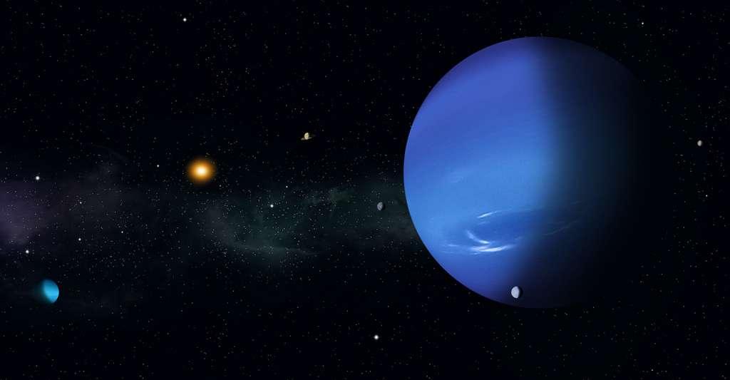 Le modèle proposé par les chercheurs de l'université de São Paolo (Brésil) remonte à la période où les planètes Jupiter et Saturne étaient tout juste formées et où Neptune — ici à l'image — et Uranus voyaient à leur tour le jour. © alex_aldo, Adobe Stock