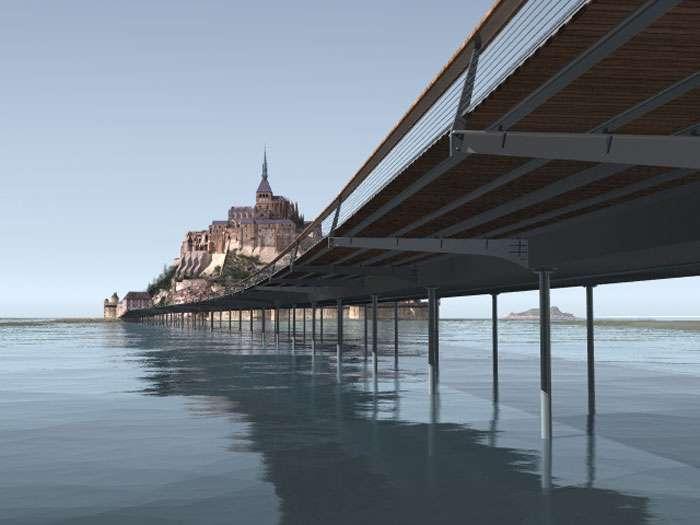 Image virtuelle du pont-passerelle du Mont-Saint-Michel et ses pilotis
